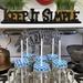 Sunshine Mason Co. Glass Mason Jar Drinking Mug set with handle, Blue Gingham lids and White Straws, Set of 6