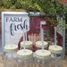 Sunshine Mason Co. Glass Mason Jar set with Yellow Gingham lids and Clear Straws, Set of 6