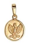 14k Gold Historical White Eagle Oval Pendant