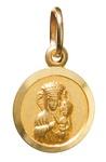 14k Gold Madonna & Child Circle Pendant 0.5 inch