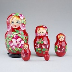 """5 Piece Wooden Nesting Doll -  Colorful 4"""""""