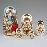 """5 Piece Wooden Nesting Doll, Natural with Flowers 6.5"""""""