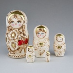 """5 Piece Wooden Nesting Doll, Natural with Gold Accents 6"""""""
