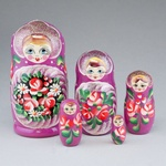 """5 Piece Wooden Nesting Doll, Colorful with Glitter 7"""""""