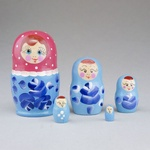 """5 Piece Wooden Nesting Doll - Colorful 3.5"""""""