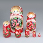 """7 Piece Wooden Nesting Doll, Colorful with Glitter 8.5"""""""