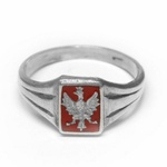 925pf Silver Eagle Ring with Red Enamel Background