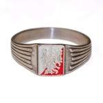 925pf Silver Eagle Ring with Red & White Enamel Background