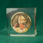 Acrylic Paperweight - Pope John Paul II Medal