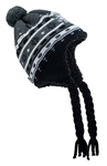 Black Winter Hat - Stripes & Flowers with Inside Lining