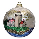 Blown-Glass Ball Ornament - Thirty Mile Point, NY Lighthouse