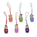 Cell Phone Charm - Wooden Babuszka Doll, 1.5 inch
