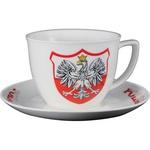 Ceramic Tea Cup & Round Saucer - Polish Eagle Emblem