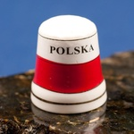 Ceramic Thimble - POLSKA Flag