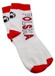 Children's Socks - White with Red Welt & Soccer Ball
