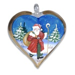 Christmas Santa Hand Painted & Signed Glass Heart Ornament