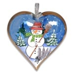 Christmas Snowman Hand Painted & Signed Glass Heart Ornament