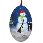 Christmas Snowman Hand Painted & Signed Turkey Egg Ornament