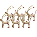 Christmas Straw Figures - Set of 6 Reindeer, 2.4 inches