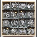 Christmas Straw Ornaments - Set of 48 pieces, Silver Finish