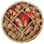 Christmas Straw Ornaments - Set of 46 pieces & Wicker Basket