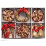 Christmas Straw Ornaments - Set of 16 pieces, Red Accents