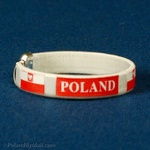 Cuff Bangle Bracelet - POLAND and Flag, White