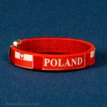 Cuff Bangle Bracelet - POLAND and Flag, Red