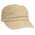 Deep Beige Baseball Cap - POLSKA, Worn Look