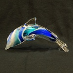 Glass Sculpture - Dolphin, Blue & White Coloring, 6 inches