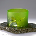 Glass Vase - Luscious Lime Series, 6 inches Wide