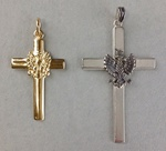 Gold 14k or 925 Silver Cross - Polish White Eagle Pendant