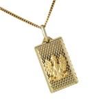 Gold 14k Rectangular a Polish White Eagle  Pendant