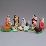 Gypsum Figures - Nativity Set with Hay, 14 Pieces