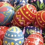 Hand Painted Small Wooden Eggs, Set of 3 - 1.25 inches Tall