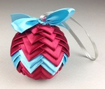 Handmade Ribbon Ball, Burgundy-Blue