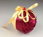 Handmade Ribbon Ball, Burgundy-Gold