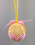 Handmade Ribbon Ball, Gold-Pink with Yellow String