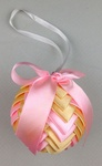 Handmade Ribbon Ball, Gold-Pink with White String