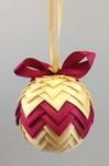 Handmade Ribbon Ball, Gold-Burgundy