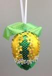 Handmade Ribbon Egg, Green-Yellow with Flowers