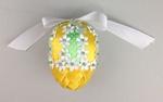 Handmade Ribbon Egg, Yellow-Green with Flowers