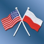 Iron-On Patch - Crossed Polish American Flags