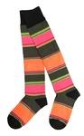 Lady's Knee High Socks - Orange/Green/Pink Stripes