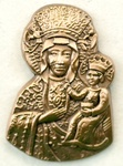 Lapel Pin - Our Lady of Czestochowa, Antique Gold
