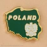 Lapel Pin - Poland Map, Green