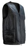 Men's Black Leather Vest with Wool Lining, Custom Order