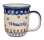 New Polish Pottery 12oz Mug - WNUCZKA, GRANDDAUGHTER