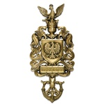 Poland Coat of Arms Brass Doorknocker with Witamy Plaque