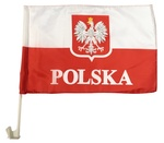 """Polish Car Flag with POLSKA & Eagle, 16"""" x 11"""""""